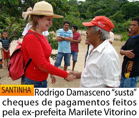 """Rodrigo Damasceno """"susta"""" cheques de pagamentos feitos pela ex-prefeita Marilete Vitorino"""