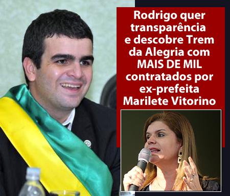 Rodrigo quer transparência e descobre Trem da Alegria com Mas de 1 mil contratados por ex-prefeita Marilete Vitorino